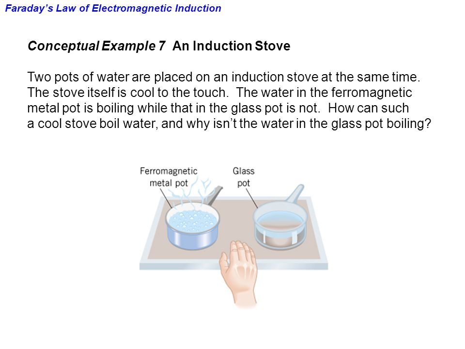 Faraday's Law of Electromagnetic Induction Conceptual Example 7 An Induction Stove Two pots of water are placed on an induction stove at the same time.