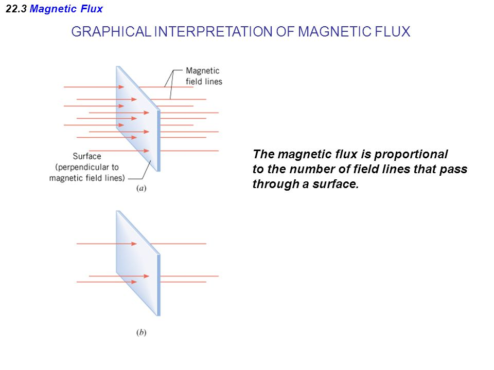 GRAPHICAL INTERPRETATION OF MAGNETIC FLUX The magnetic flux is proportional to the number of field lines that pass through a surface.