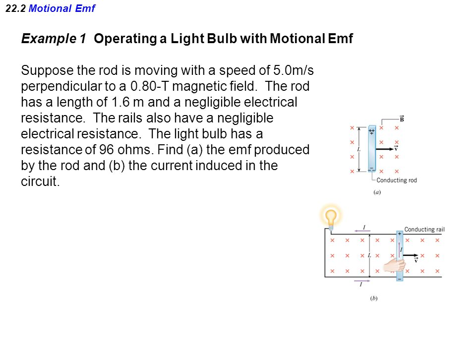 22.2 Motional Emf Example 1 Operating a Light Bulb with Motional Emf Suppose the rod is moving with a speed of 5.0m/s perpendicular to a 0.80-T magnetic field.