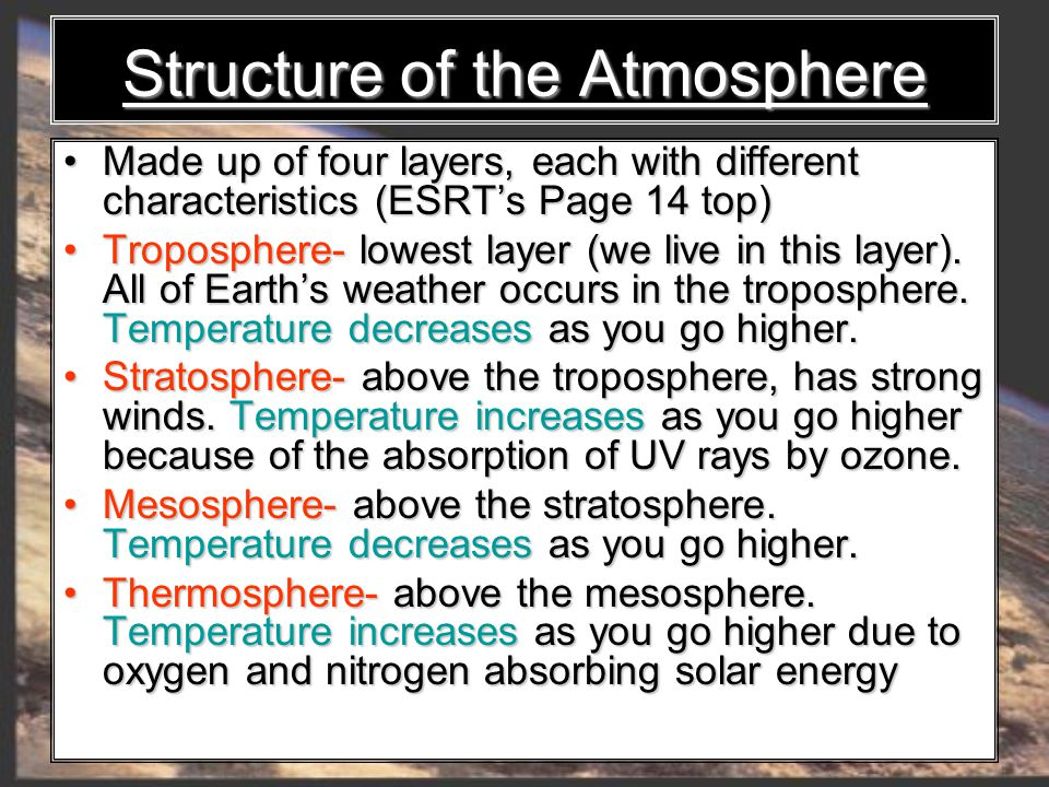 Structure of the Atmosphere Made up of four layers, each with different characteristics (ESRT's Page 14 top) Made up of four layers, each with different characteristics (ESRT's Page 14 top) Troposphere- lowest layer (we live in this layer).
