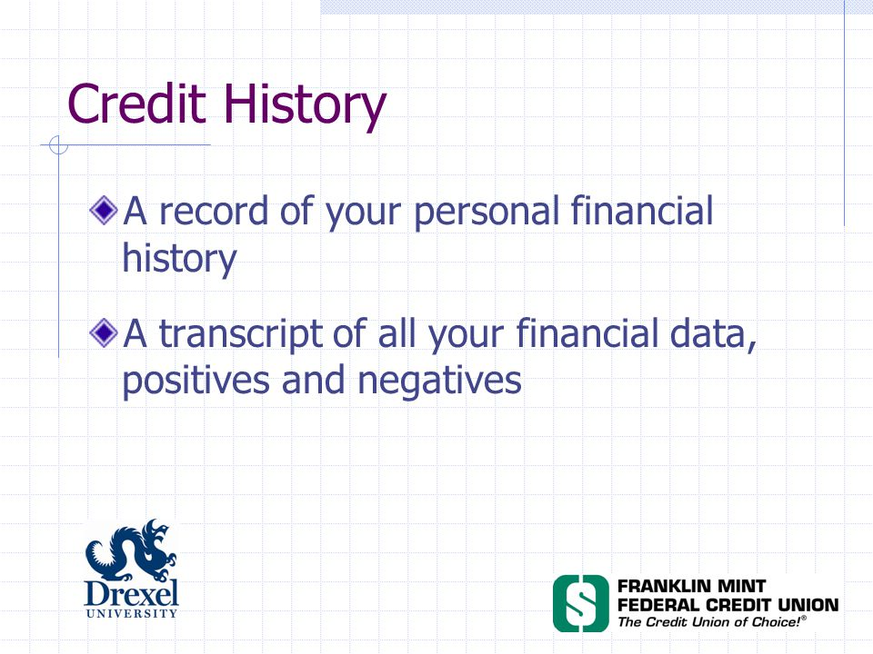Credit History A record of your personal financial history A transcript of all your financial data, positives and negatives