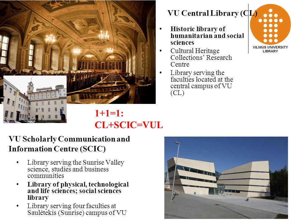 1+1=1: CL+SCIC=VUL Historic library of humanitarian and social sciences Cultural Heritage Collections' Research Centre Library serving the faculties located at the central campus of VU (CL) Library serving the Sunrise Valley science, studies and business communities Library of physical, technological and life sciences; social sciences library Library serving four faculties at Saulėtekis (Sunrise) campus of VU VU Central Library (CL) VU Scholarly Communication and Information Centre (SCIC)