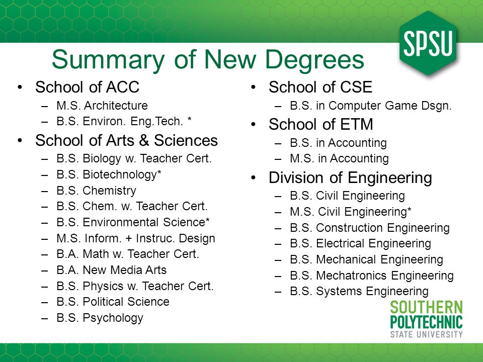 Summary of New Degrees School of ACC –M.S. Architecture –B.S.