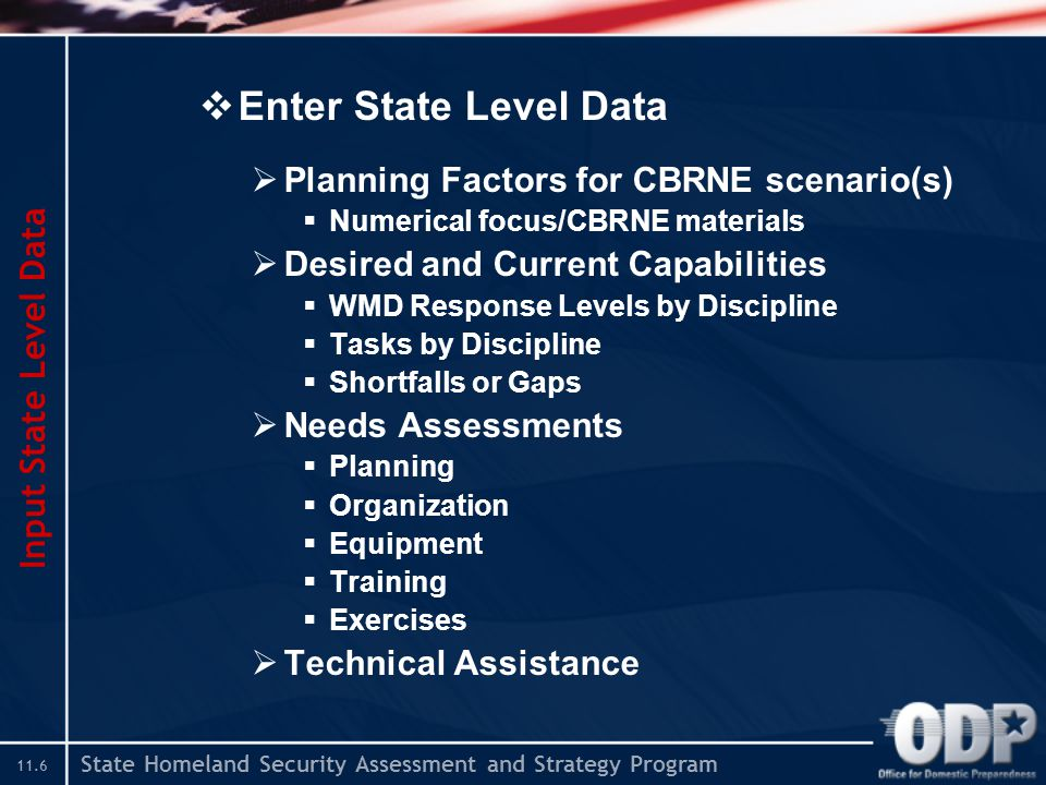 State Homeland Security Assessment and Strategy Program 11.6  Enter State Level Data  Planning Factors for CBRNE scenario(s)  Numerical focus/CBRNE materials  Desired and Current Capabilities  WMD Response Levels by Discipline  Tasks by Discipline  Shortfalls or Gaps  Needs Assessments  Planning  Organization  Equipment  Training  Exercises  Technical Assistance Input State Level Data