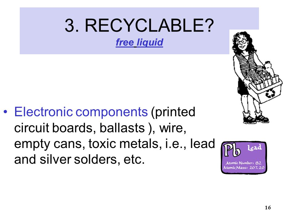 16 3. RECYCLABLE.