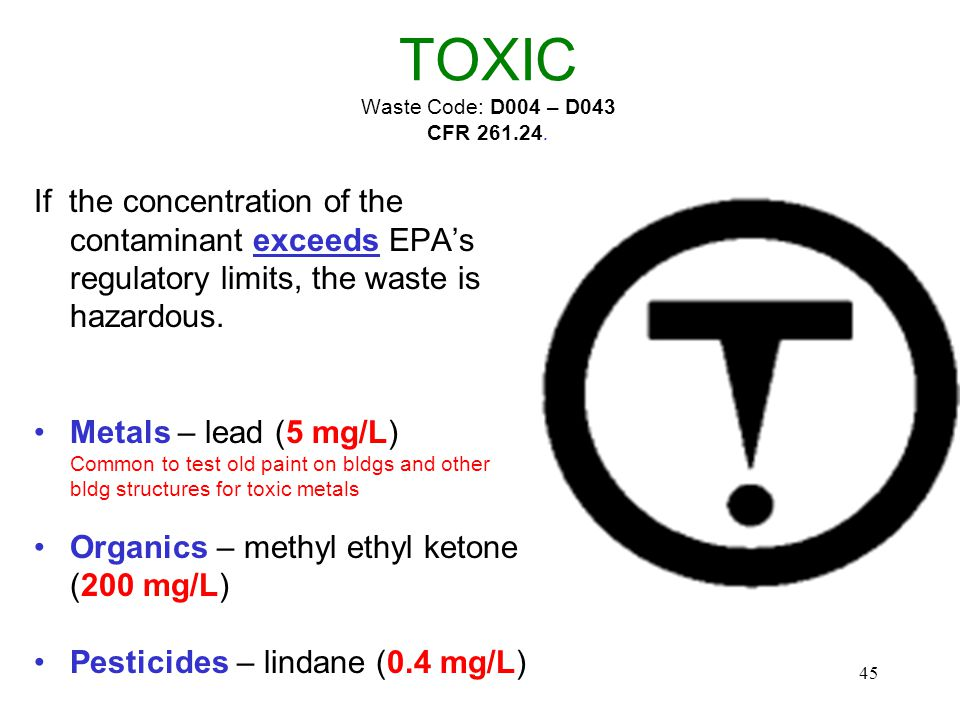 45 TOXIC Waste Code: D004 – D043 CFR