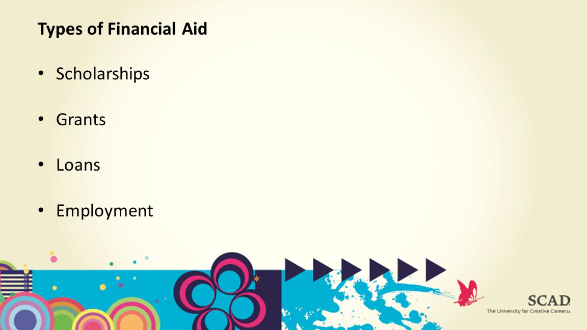 Scholarships Grants Loans Employment Types of Financial Aid