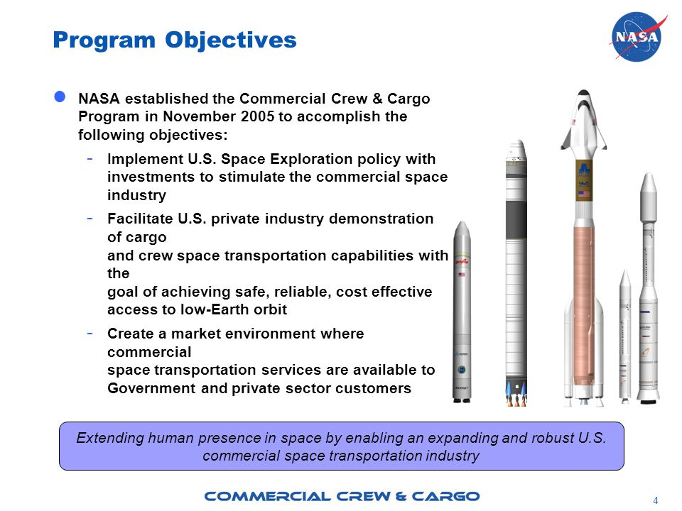 4 Program Objectives l NASA established the Commercial Crew & Cargo Program in November 2005 to accomplish the following objectives: - Implement U.S.