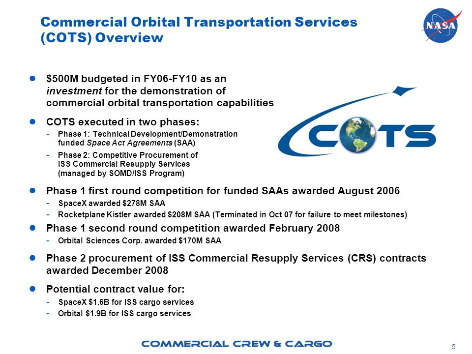 5 ● $500M budgeted in FY06-FY10 as an investment for the demonstration of commercial orbital transportation capabilities ● COTS executed in two phases: - Phase 1: Technical Development/Demonstration funded Space Act Agreements (SAA) - Phase 2: Competitive Procurement of ISS Commercial Resupply Services (managed by SOMD/ISS Program) ● Phase 1 first round competition for funded SAAs awarded August SpaceX awarded $278M SAA - Rocketplane Kistler awarded $208M SAA (Terminated in Oct 07 for failure to meet milestones) ● Phase 1 second round competition awarded February Orbital Sciences Corp.