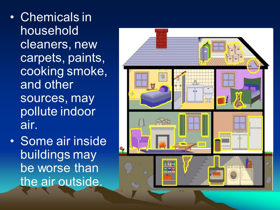 Chemicals in household cleaners, new carpets, paints, cooking smoke, and other sources, may pollute indoor air.