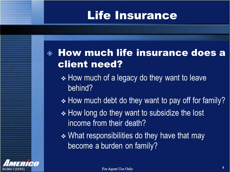 (10/05) For Agent Use Only 4 Life Insurance  How much life insurance does a client need.
