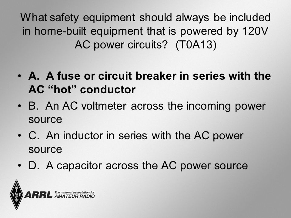 What safety equipment should always be included in home-built equipment that is powered by 120V AC power circuits.