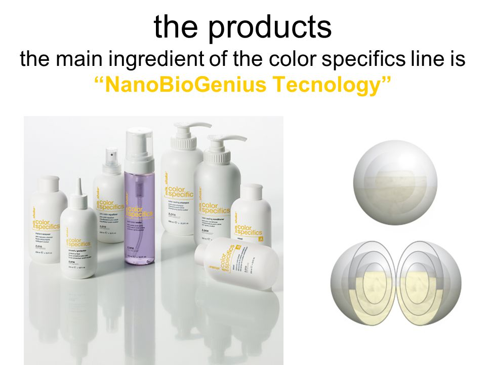 the products the main ingredient of the color specifics line is NanoBioGenius Tecnology
