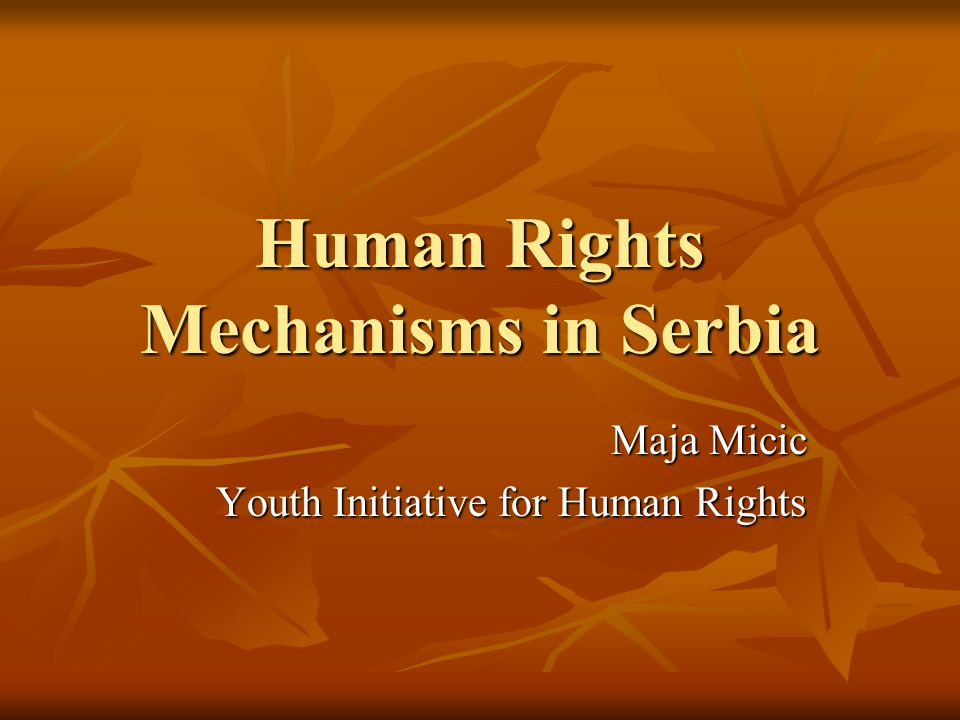 Human Rights Mechanisms in Serbia Maja Micic Youth Initiative for Human Rights