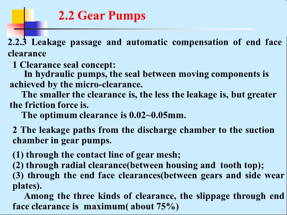 2.2.3 Leakage passage and automatic compensation of end face clearance In hydraulic pumps, the seal between moving components is achieved by the micro-clearance.