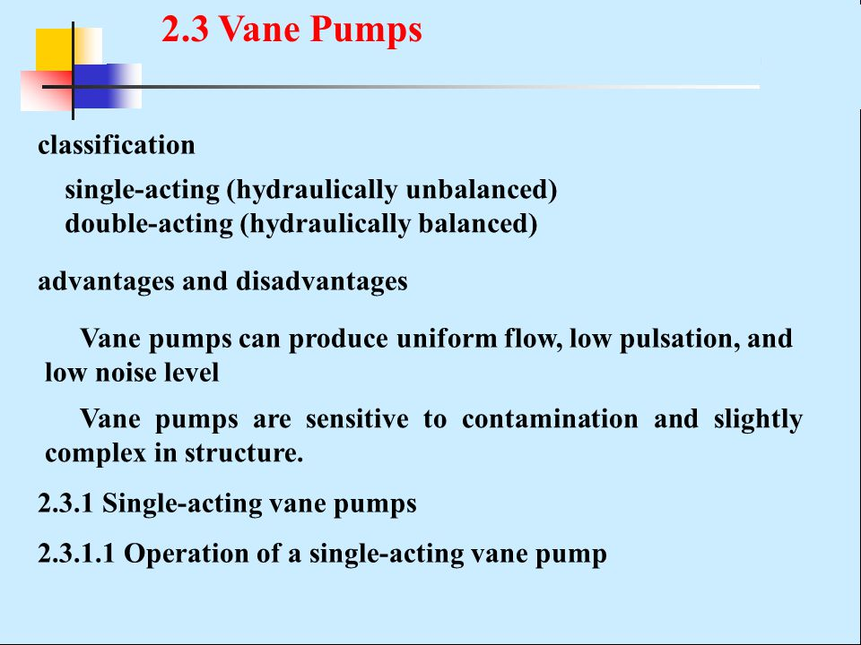 single-acting (hydraulically unbalanced) double-acting (hydraulically balanced) advantages and disadvantages Vane pumps can produce uniform flow, low pulsation, and low noise level classification Vane pumps are sensitive to contamination and slightly complex in structure.