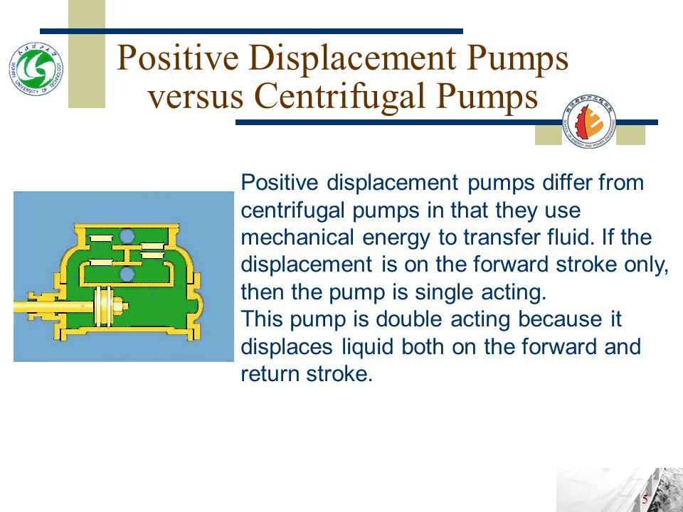 4 Positive Displacement Pumps versus Centrifugal Pumps Positive displacement pumps differ from centrifugal pumps in that they use mechanical energy to transfer fluid.