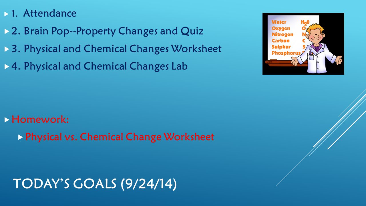 Chemical and physical changes worksheet