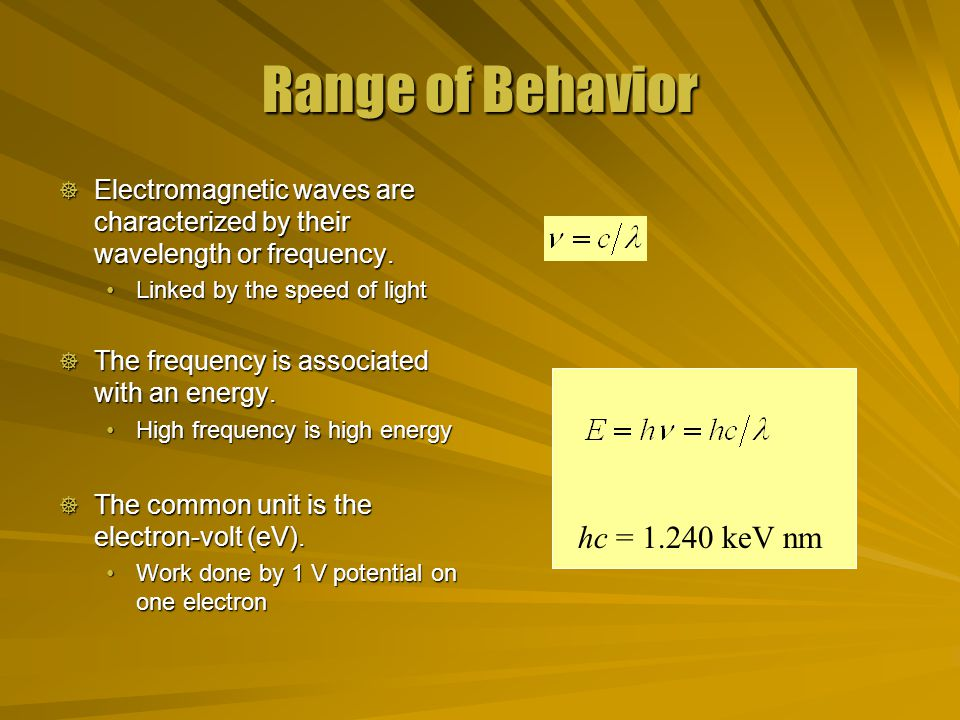 Range of Behavior  Electromagnetic waves are characterized by their wavelength or frequency.