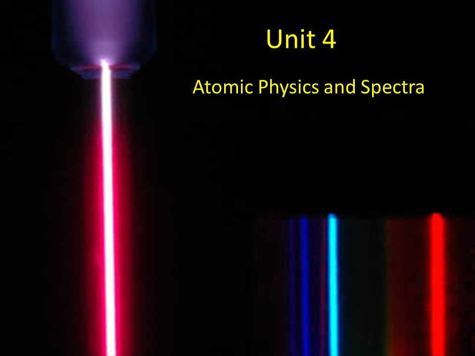 Unit 4 Atomic Physics and Spectra