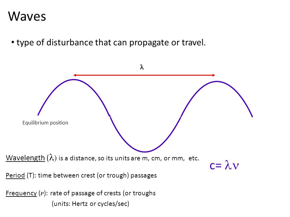 Waves type of disturbance that can propagate or travel.