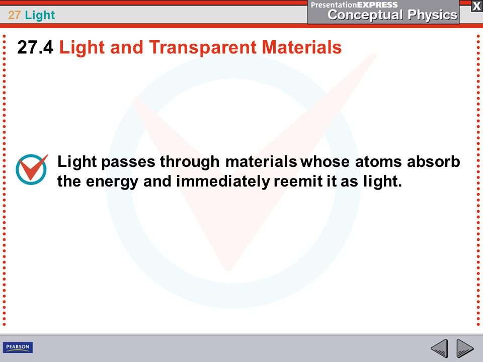 27 Light Light passes through materials whose atoms absorb the energy and immediately reemit it as light.