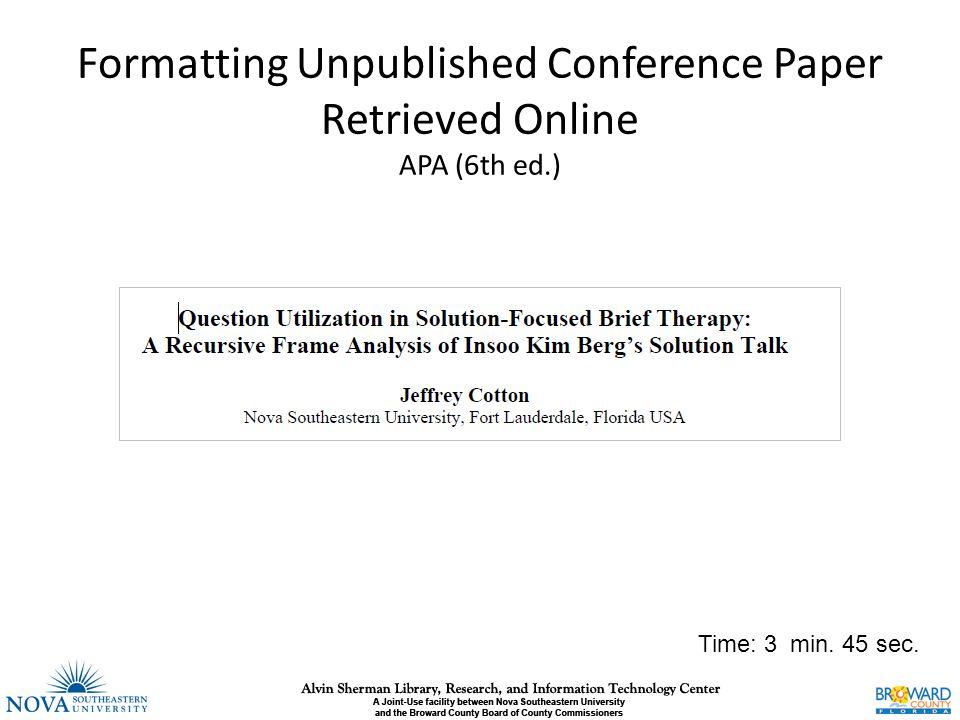 sample apa paper 6th edition