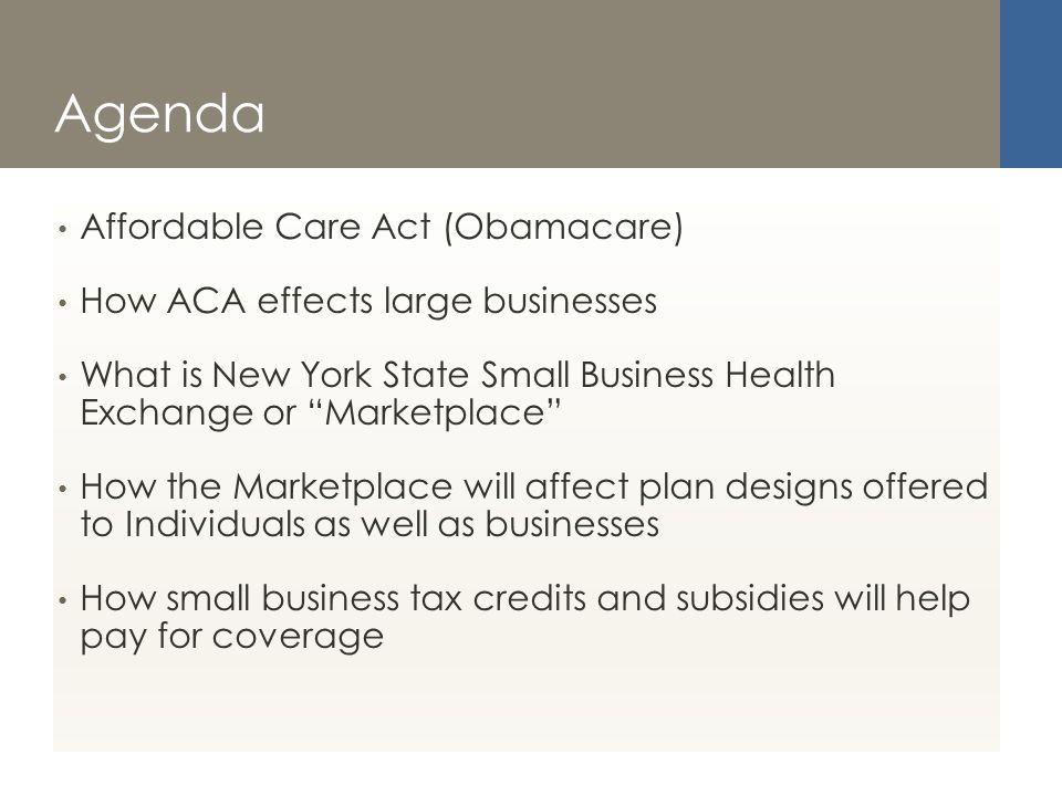 Agenda Affordable Care Act (Obamacare) How ACA effects large businesses What is New York State Small Business Health Exchange or Marketplace How the Marketplace will affect plan designs offered to Individuals as well as businesses How small business tax credits and subsidies will help pay for coverage