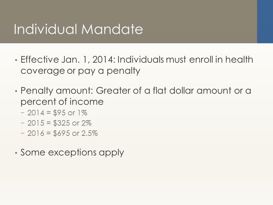 Individual Mandate Effective Jan.