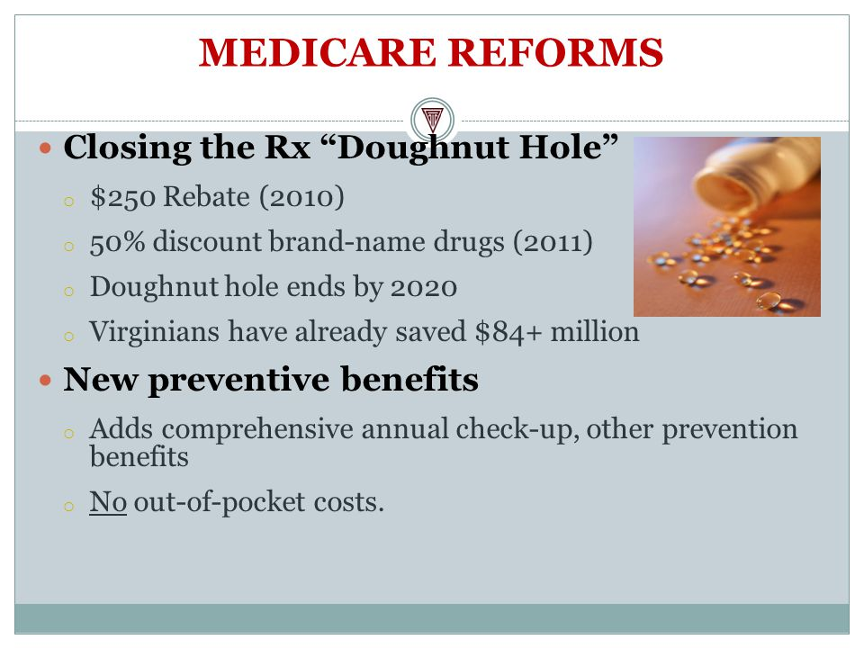 MEDICARE REFORMS Closing the Rx Doughnut Hole o $250 Rebate (2010) o 50% discount brand-name drugs (2011) o Doughnut hole ends by 2020 o Virginians have already saved $84+ million New preventive benefits o Adds comprehensive annual check-up, other prevention benefits o No out-of-pocket costs.