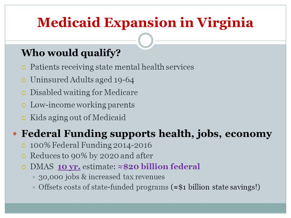 Medicaid Expansion in Virginia Who would qualify.