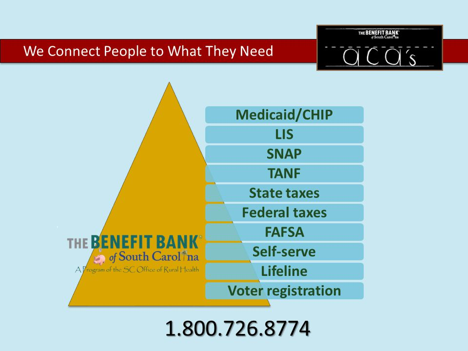 We Connect People to What They Need Medicaid/CHIPLISSNAPTANFState taxesFederal taxesFAFSASelf-serveLifelineVoter registration