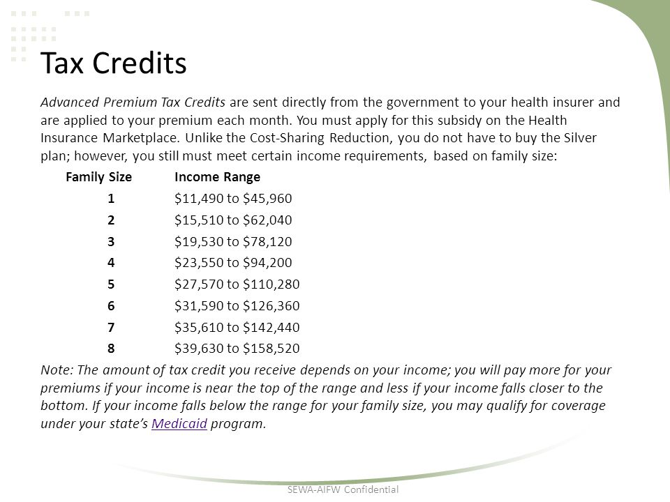 Tax Credits Advanced Premium Tax Credits are sent directly from the government to your health insurer and are applied to your premium each month.