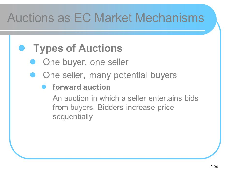 2-30 Auctions as EC Market Mechanisms Types of Auctions One buyer, one seller One seller, many potential buyers forward auction An auction in which a seller entertains bids from buyers.