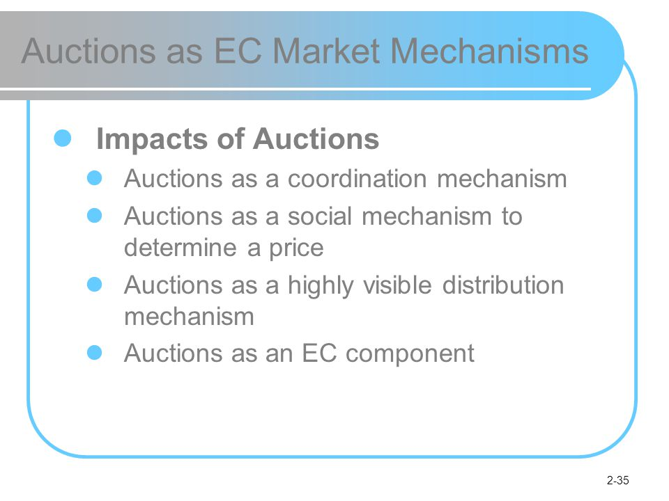2-35 Auctions as EC Market Mechanisms Impacts of Auctions Auctions as a coordination mechanism Auctions as a social mechanism to determine a price Auctions as a highly visible distribution mechanism Auctions as an EC component