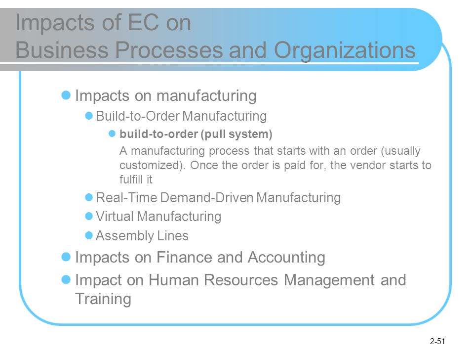 2-51 Impacts of EC on Business Processes and Organizations Impacts on manufacturing Build-to-Order Manufacturing build-to-order (pull system) A manufacturing process that starts with an order (usually customized).