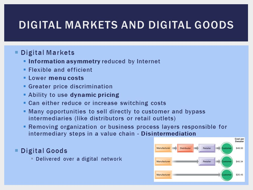  Digital Markets  Information asymmetry reduced by Internet  Flexible and efficient  Lower menu costs  Greater price discrimination  Ability to