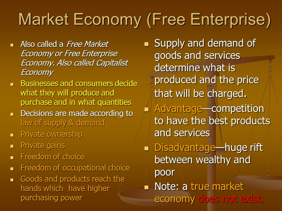 what is free market economy Extracts from this document introduction economics essay a market economy (free market economy) is a social institution where the basic economic problem of what, how, for whom to produce is solved by the firms and consumers who decide what they will produce and purchase, as opposed to a centrally planned economy in which the.