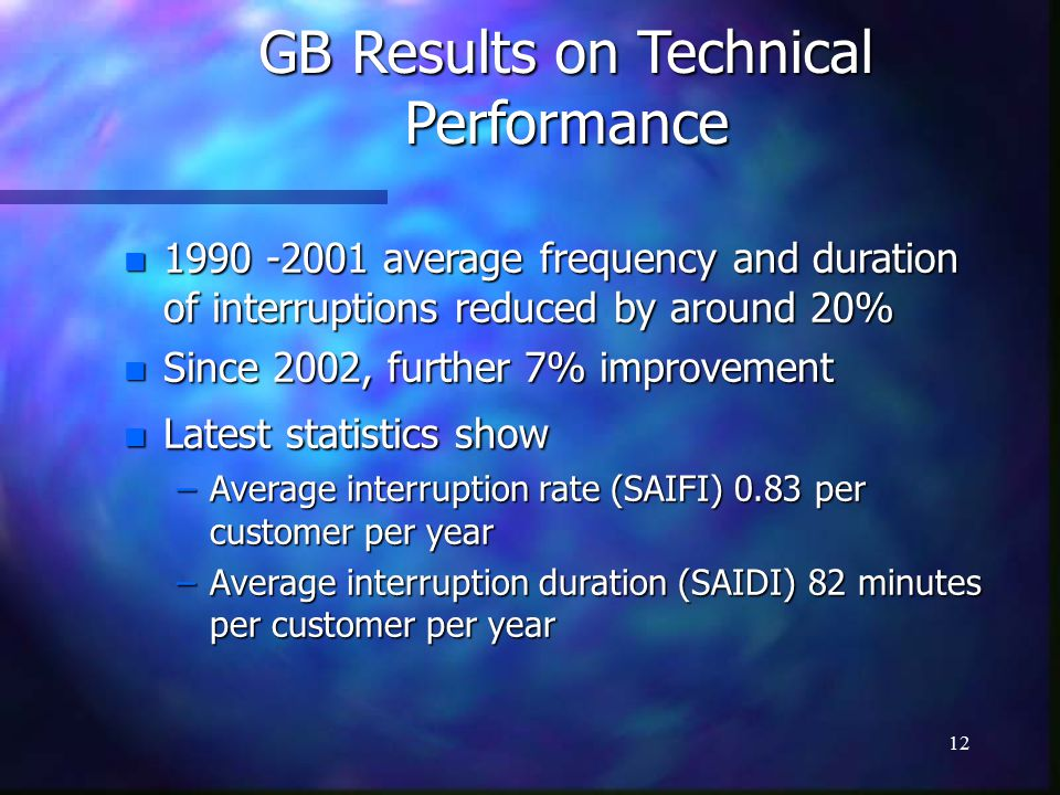 12 GB Results on Technical Performance n average frequency and duration of interruptions reduced by around 20% n Since 2002, further 7% improvement n Latest statistics show –Average interruption rate (SAIFI) 0.83 per customer per year –Average interruption duration (SAIDI) 82 minutes per customer per year
