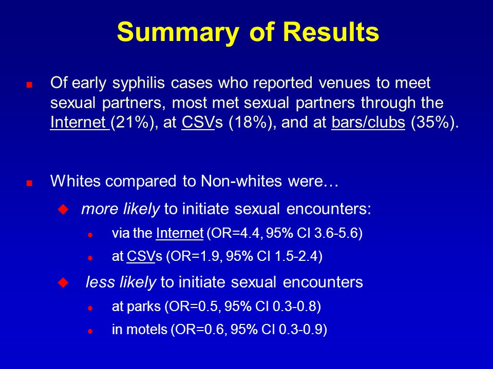 Summary of Results Of early syphilis cases who reported venues to meet sexual partners, most met sexual partners through the Internet (21%), at CSVs (18%), and at bars/clubs (35%).