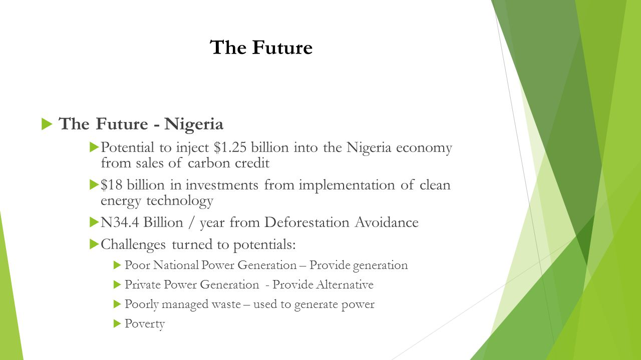 The Future  The Future - Nigeria  Potential to inject $1.25 billion into the Nigeria economy from sales of carbon credit  $18 billion in investments from implementation of clean energy technology  N34.4 Billion / year from Deforestation Avoidance  Challenges turned to potentials:  Poor National Power Generation – Provide generation  Private Power Generation - Provide Alternative  Poorly managed waste – used to generate power  Poverty
