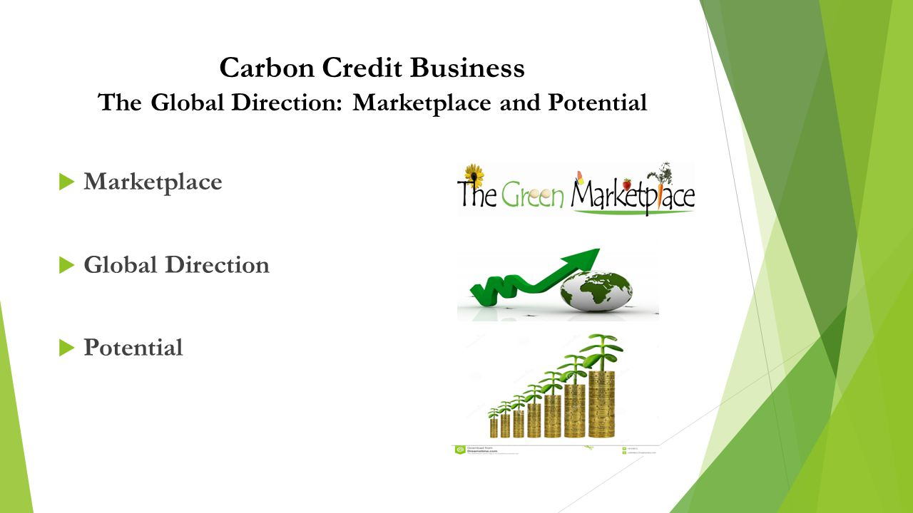 Carbon Credit Business The Global Direction: Marketplace and Potential  Marketplace  Global Direction  Potential