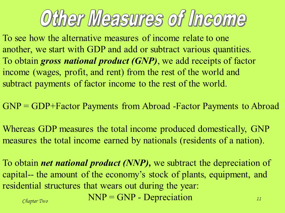 Chapter Two 11 To see how the alternative measures of income relate to one another, we start with GDP and add or subtract various quantities.
