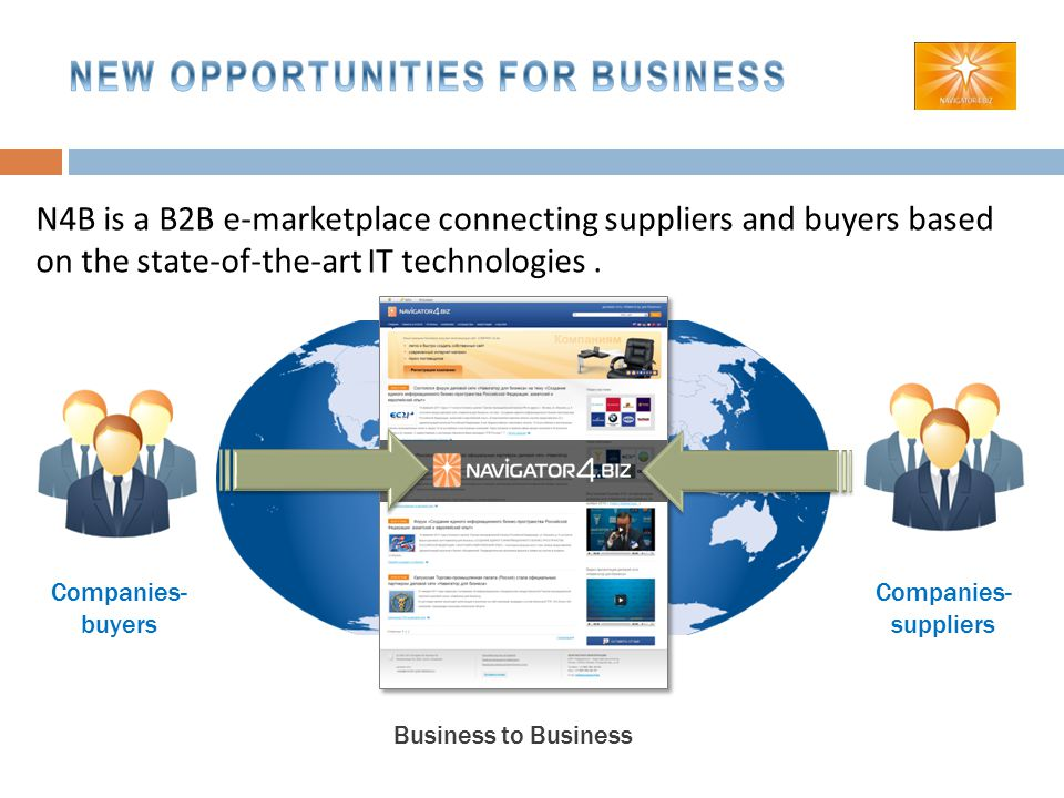 Companies- buyers Companies- suppliers Business to Business N4B is a B2B e-marketplace connecting suppliers and buyers based on the state-of-the-art IT technologies.