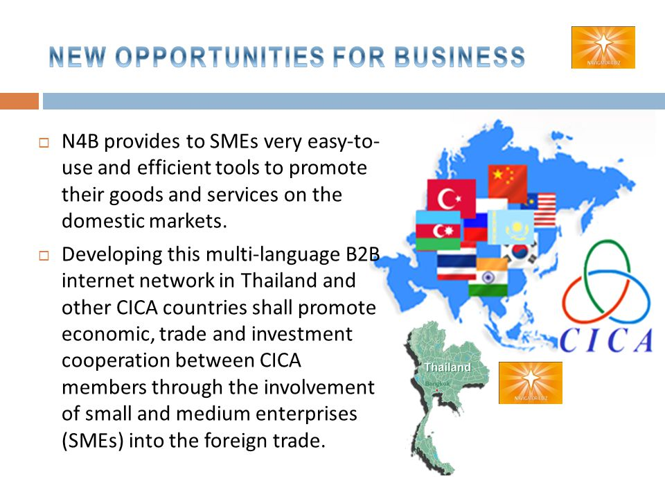  N4B provides to SMEs very easy-to- use and efficient tools to promote their goods and services on the domestic markets.