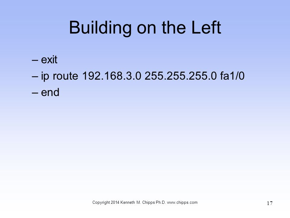 Building on the Left –exit –ip route fa1/0 –end Copyright 2014 Kenneth M.