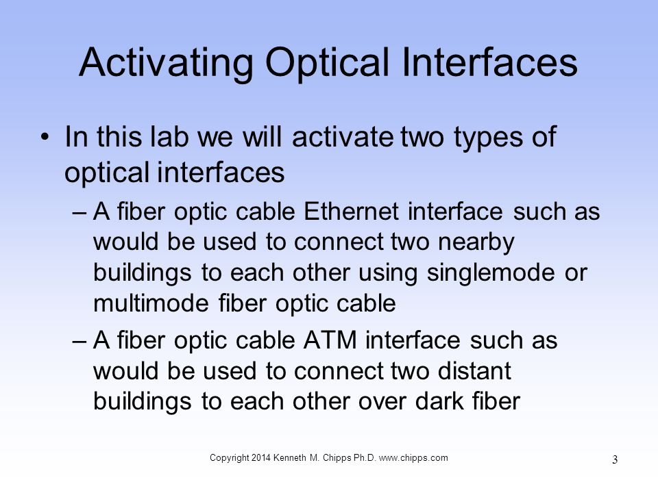 Activating Optical Interfaces In this lab we will activate two types of optical interfaces –A fiber optic cable Ethernet interface such as would be used to connect two nearby buildings to each other using singlemode or multimode fiber optic cable –A fiber optic cable ATM interface such as would be used to connect two distant buildings to each other over dark fiber Copyright 2014 Kenneth M.