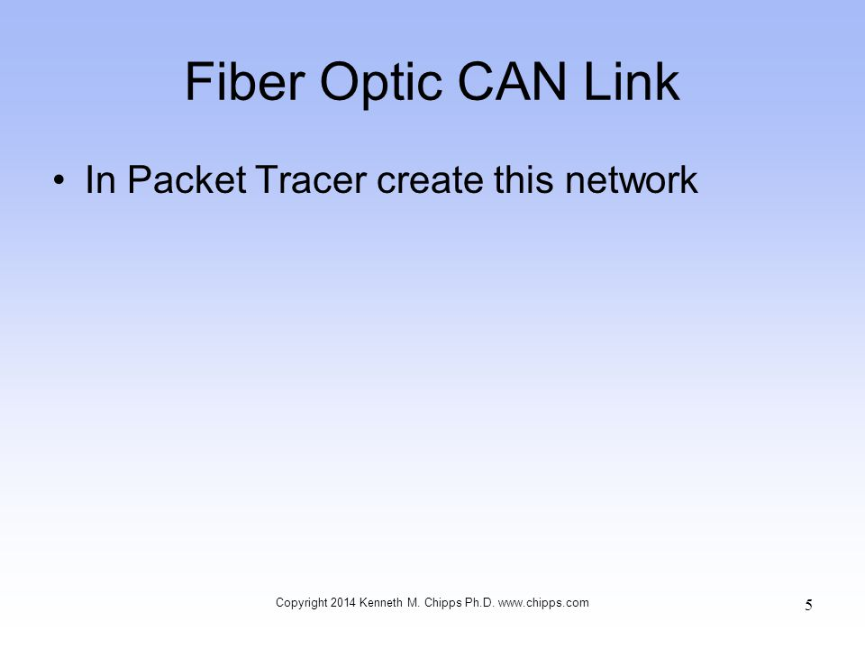 Fiber Optic CAN Link In Packet Tracer create this network Copyright 2014 Kenneth M.