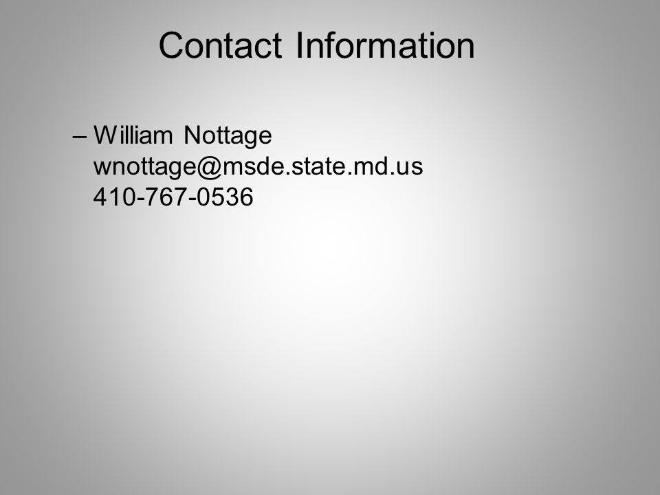 Contact Information –William Nottage