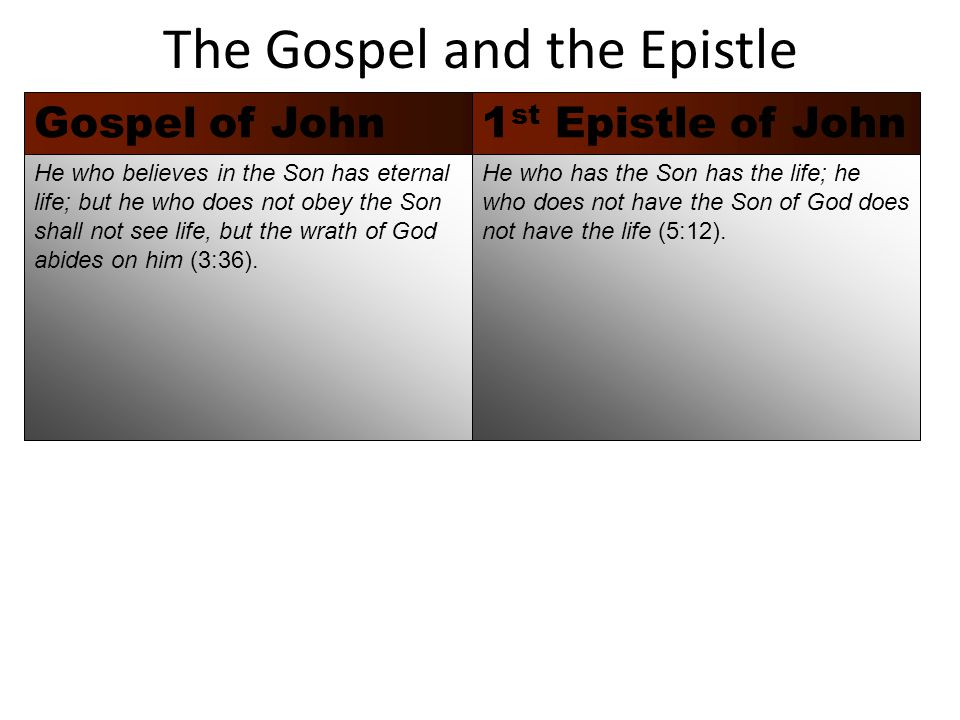 The Gospel and the Epistle 1 st Epistle of JohnGospel of John He who has the Son has the life; he who does not have the Son of God does not have the life (5:12).